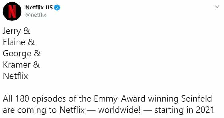 Seinfeld chegará à Netflix em 2021