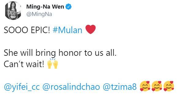 Dubladora original de Mulan elogia live-action