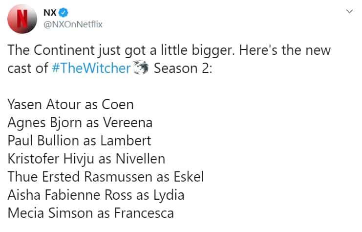 The Witcher anuncia 7 novos atores e atrizes para o elenco da 2ª temporada