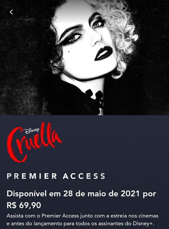 Cruella custará R$69,90 no Premier Access do Disney+